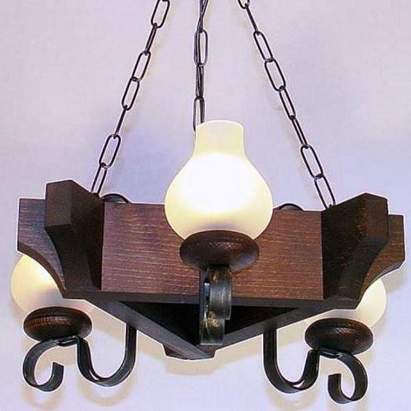 Candelabru rustic fabricat manual din lemn dim.40x40cm, 3 brate Queen WOOD-QU-SP3, Magazin,  a