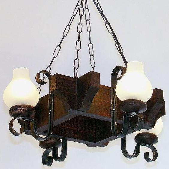 Candelabru rustic fabricat manual din lemn dim.50x50cm, 4 brate Queen WOOD-QU-SP4, Magazin,  a