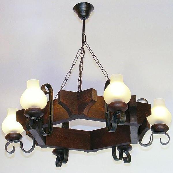 Candelabru rustic fabricat manual din lemn dim.65x65cm, 6 brate Queen WOOD-QU-SP6, Magazin,  a