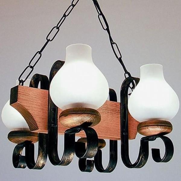 Candelabru rustic fabricat manual din lemn 4 brate Vela WOOD-VE-SP4, Magazin, Corpuri de iluminat, lustre, aplice, veioze, lampadare, plafoniere. Mobilier si decoratiuni, oglinzi, scaune, fotolii. Oferte speciale iluminat interior si exterior. Livram in toata tara.  a