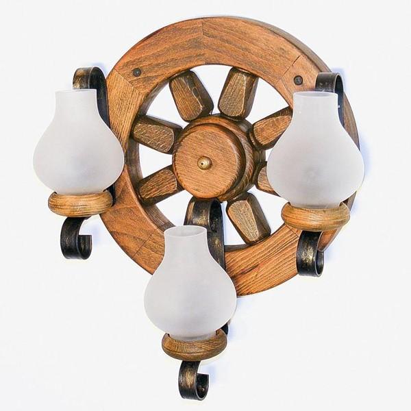 Aplica de perete rustica fabricata manual din lemn Roata WOOD-RO-AP3, Magazin,  a