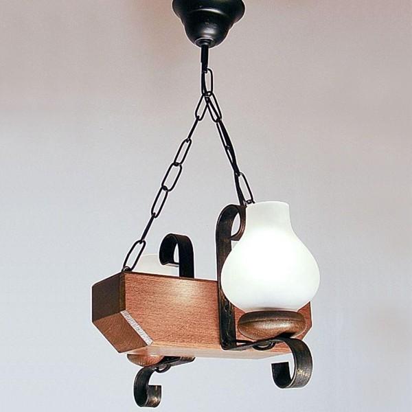 Candelabru rustic fabricat manual din lemn 2 brate Trapez WOOD-TR-SP2, Magazin,  a