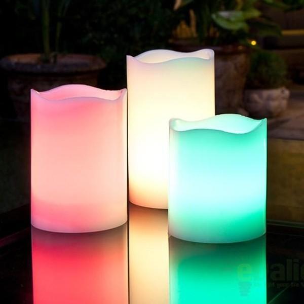 Set de 3 lumanari decorative cu LED multicolor si telecomanda 521132, ILUMINAT FESTIV, Corpuri de iluminat, lustre, aplice a