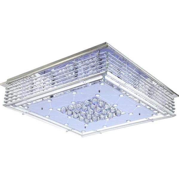 Plafonier dim.80x80cm, cristale K5, telecomanda, LED Tiggy 68585 GL, Lampi LED si Telecomanda, Corpuri de iluminat, lustre, aplice a