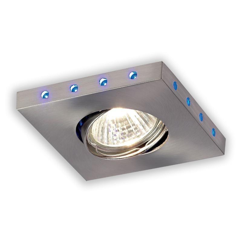 Spot incastrabil pt. baie cu LED-uri albastre, dim.9,9x9,9cm, IP44, EL-20018 EN, Spoturi incastrate, aplicate - tavan / perete, Corpuri de iluminat, lustre, aplice a