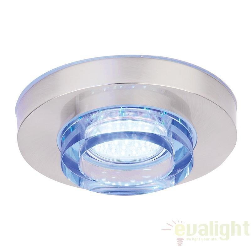 Spot incastrabil pt. baie, design cromat, LED albastru, diam.13cm, IP44, EL-IP-9000 EN, Spoturi incastrate, aplicate - tavan / perete, Corpuri de iluminat, lustre, aplice a