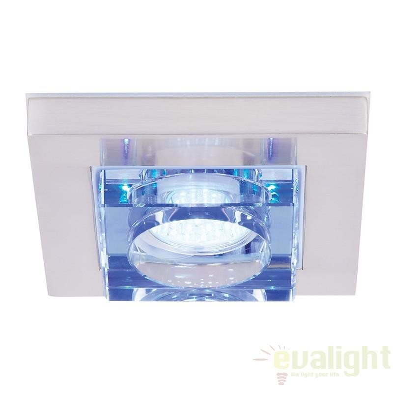 Spot incastrabil pt. baie, design cromat, LED albastru, dim.13x13cm, IP44, EL-IP-9100 EN, Spoturi incastrate, aplicate - tavan / perete, Corpuri de iluminat, lustre, aplice a