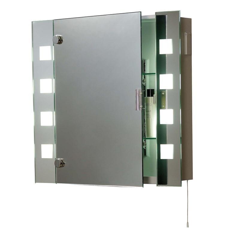 Oglinda pentru baie, dulapior, cu iluminat, dim.60x65cm, IP44, EL-MILOS EN, Oglinzi pentru baie, Corpuri de iluminat, lustre, aplice a