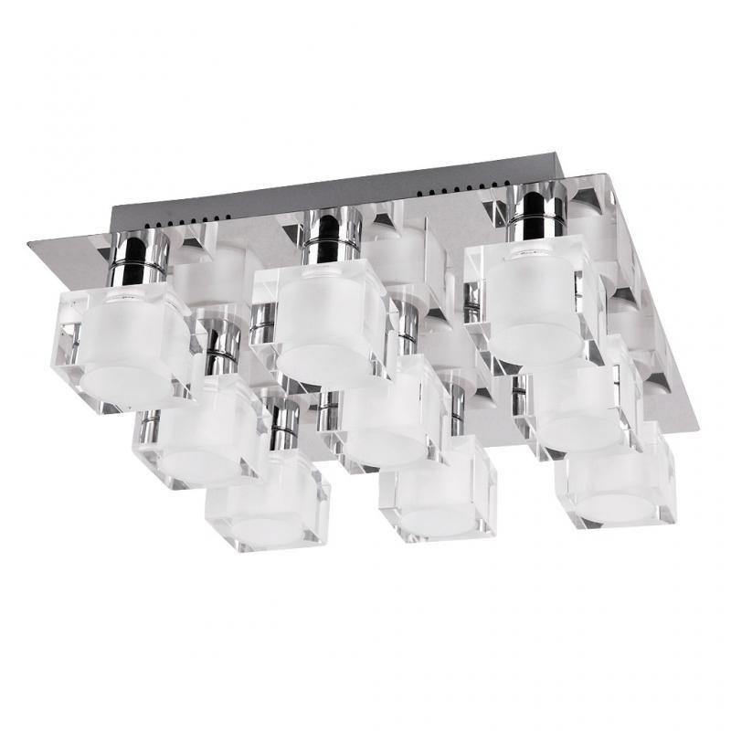 Plafonier modern cu 9 spoturi, dim.35x35cm, Diamond 2962 RX, Spoturi - iluminat - cu 5 si 6 spoturi, Corpuri de iluminat, lustre, aplice a