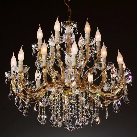 Lustra cristal Swarovski 18 brate auriu sau argintiu Luciella, Lustre Cristal Swarovski , Corpuri de iluminat, lustre, aplice a
