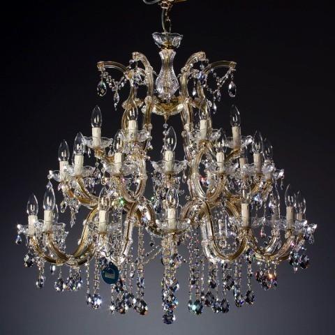 Candelabru cristal Swarovski 30 brate auriu sau argintiu Felicia, Lustre Cristal Swarovski , Corpuri de iluminat, lustre, aplice a