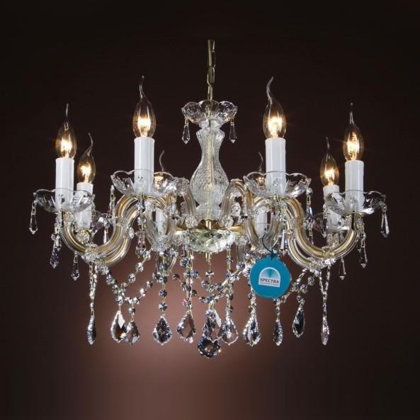 Lustra cristal Swarovski 8 brate argintiu sau auriu Briana, Lustre Cristal Swarovski , Corpuri de iluminat, lustre, aplice a