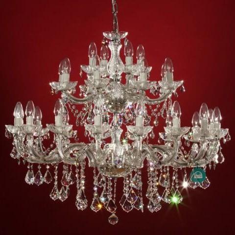 Candelabru cristal Swarovski 28 brate auriu sau argintiu Julia, Lustre Cristal Swarovski , Corpuri de iluminat, lustre, aplice a