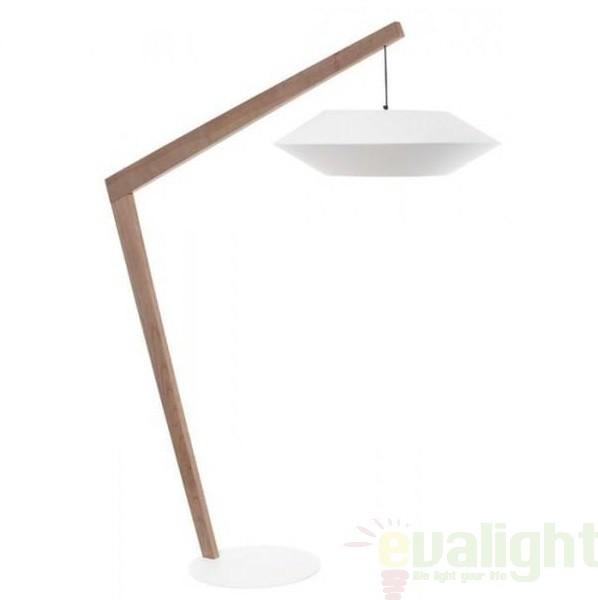 Lampadar, lampa de podea, finisaj lemn, abajur alb, Ovni alb FL,  a