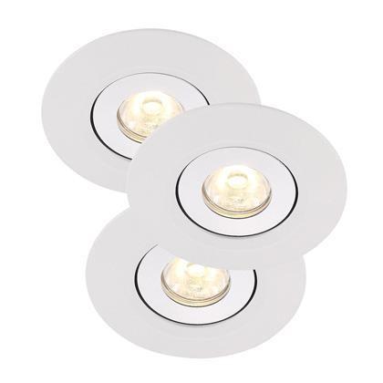 Set 3 spoturi orientabile incastrate LED Raven Mini alb 79010001NL, Spoturi LED incastrate, aplicate, Corpuri de iluminat, lustre, aplice a