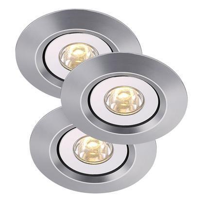 Set 3 spoturi orientabile incastrate LED Raven Mini aluminiu 79010029NL, Spoturi LED incastrate, aplicate, Corpuri de iluminat, lustre, aplice a