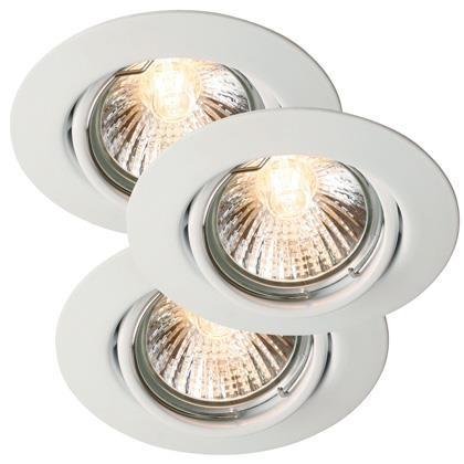 Set 3 spoturi orientabile incastrate 35W GU10 Triton alb 54480101NL, Spoturi incastrate, aplicate - tavan / perete, Corpuri de iluminat, lustre, aplice a